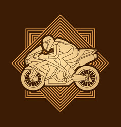 motorcycle racing side view graphic vector image vector image