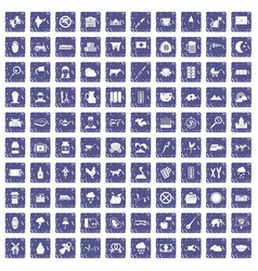 100 cow icons set grunge sapphire vector