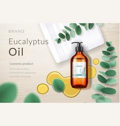 3d spray bottle with eucalyptus oil blob branch vector image