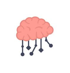 Ai brain icon flat isolated vector
