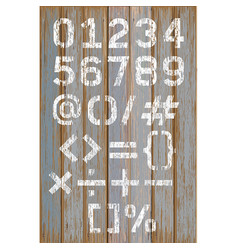 alphabet number white color paint on wood vector image