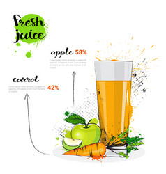 Apple carrot mix cocktail of fresh juice hand vector