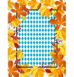 autumn leaves on a background pattern of blue vector image