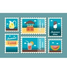 Bar beach stamp set Summer Vacation vector