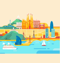barcelona city travel and tourism background vector image
