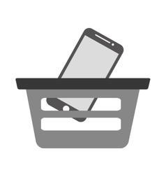 basket buying online smartphone commerce gray vector image