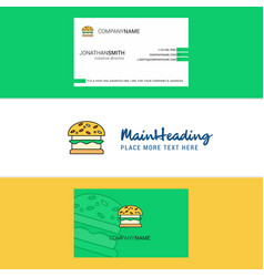 Beautiful burger logo and business card vertical vector