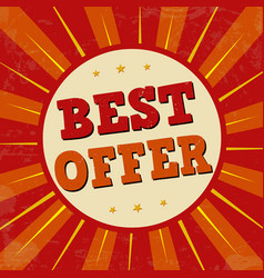 best offer banner or label for business promotion vector image