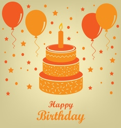 Birthday poster with cake and balloons vector image