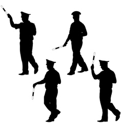 Black silhouettes of Police officer with a rod on vector