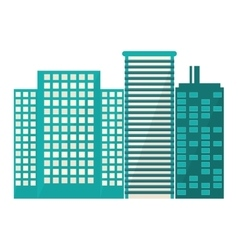 blue buildings and city scene line sticker vector image