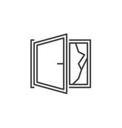 Broken open window line icon cracked vector
