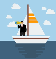 Business man sailing and looking for future vector image
