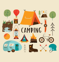 camping adventure elements vector image