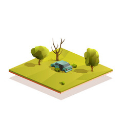 car wreck in middle a meadow vector image