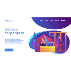 Carpenter services concept landing page vector