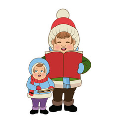 Cartoon man and son choir singing for christmas vector