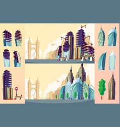 cartoon of an urban landscape vector image vector image