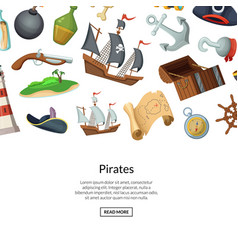 cartoon sea pirates background vector image