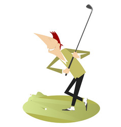 Cartoon smiling golfer isolated vector