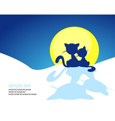 cat silhouette in winter sunset vector image