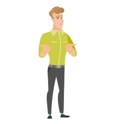 Caucasian confused businessman shrugging shoulders vector