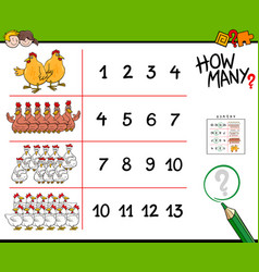 chicken counting game cartoon vector image