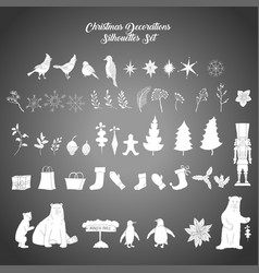Christmas decoration silhouettes set vector