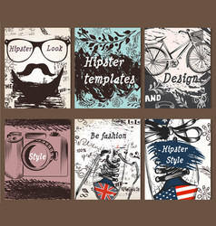Collection of vintage creative cards with hand vector