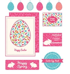 colorful branches set easter cards vector image