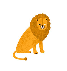 colorful cute hand drawn lion with big mane vector image