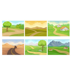 Countryside landscapes with hills and houses vector