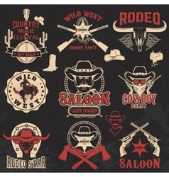 Cowboy rodeo wild west labels vector
