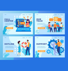 customer call service support team website design vector image