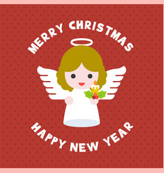 cute angel for merry christmas flat design vector image