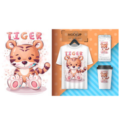 cute tiger poster and merchandising vector image