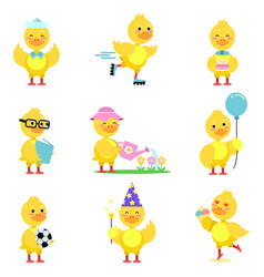 Cute yellow duckling characters set funny duck in vector