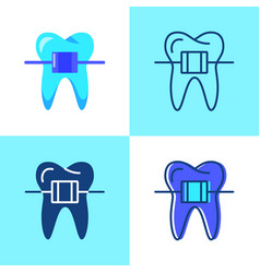 Dental braces icon set in flat and line style vector