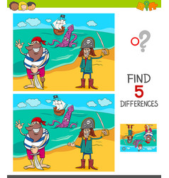 differences game with funny pirates vector image