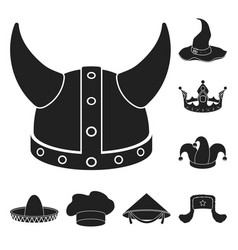 different kinds of hats black icons in set vector image