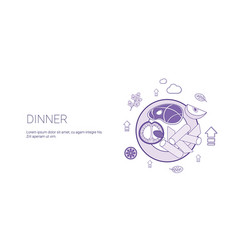 dinner day food or meal concept template web vector image