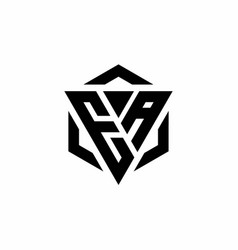 Ea logo monogram with triangle and hexagon modern vector