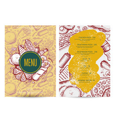 Fast food menu layout with hand drawn graphic vector
