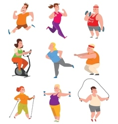 Fat people fitness gym vector image