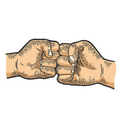 Fist greeting sketch engraving vector