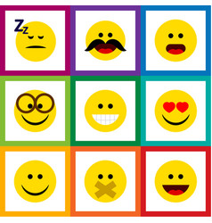 Flat icon face set of wonder asleep grin and vector