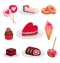 Flat set of tasty desserts for valentine s vector