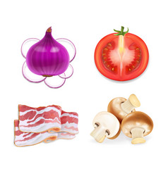 Food flavors for snacks onion bacon mushrooms vector