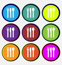 Fork knife spoon icon sign Nine multi colored vector