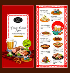 german cuisine menu lunch dishes vector image